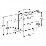 DEBBA шкафчик 60см, с 2мя ящиками, с умывальником, с сифоном, белый глянец, фото 2