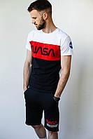 Мужской комплект летний NASA| футболка | шорты | Цвет: черно-белый.