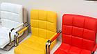 Крісло майстра Арно хром, чорна екокожа з підлокітниками на колесах, фото 7