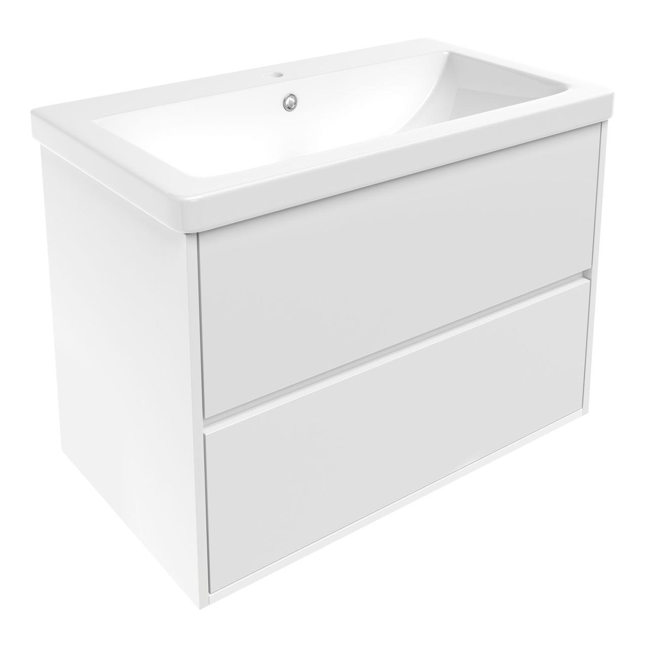 TEO комплект мебели 80см белый: тумба подвесная, 2 ящика + умывальник накладной