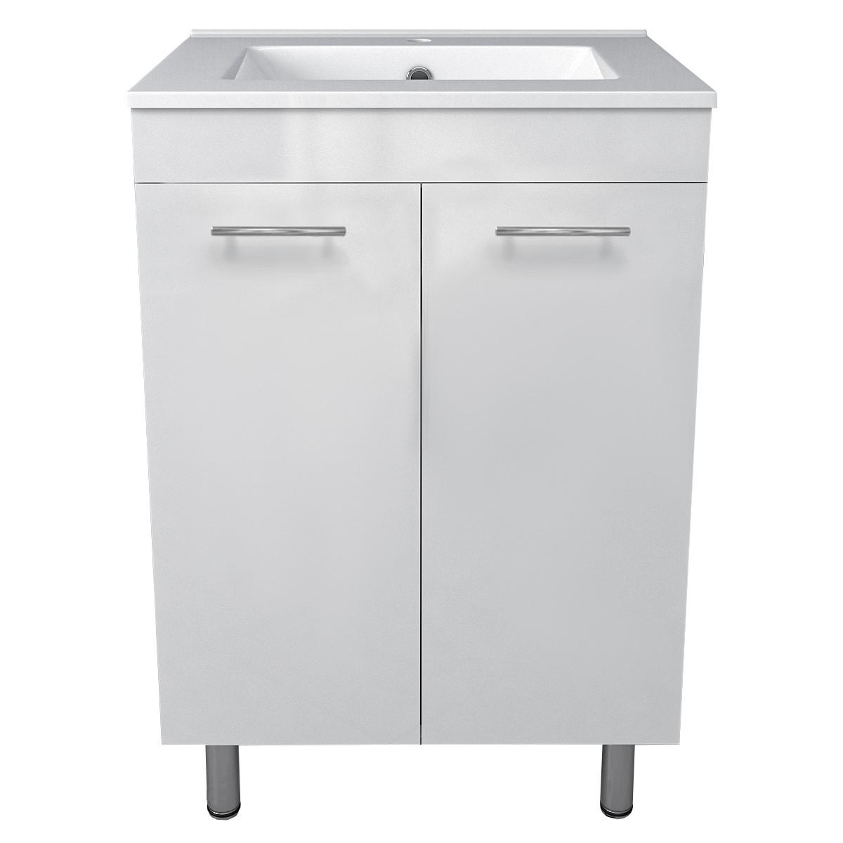 MARO комплект мебели 60см белый: тумба напольная, 2 дверцы + умывальник накладной