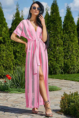 Туника пляжная длинная розовая с поясом