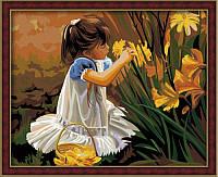 """Раскраска по цифрам """"Девочка с цветами"""" (Общение с природой) худ. Золан Дональд (KH030) Идейка 40 х 50 см"""