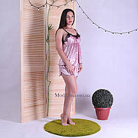 "Пижама топ с шортами с мраморного бархат-велюра ""Pink"" 42-50"