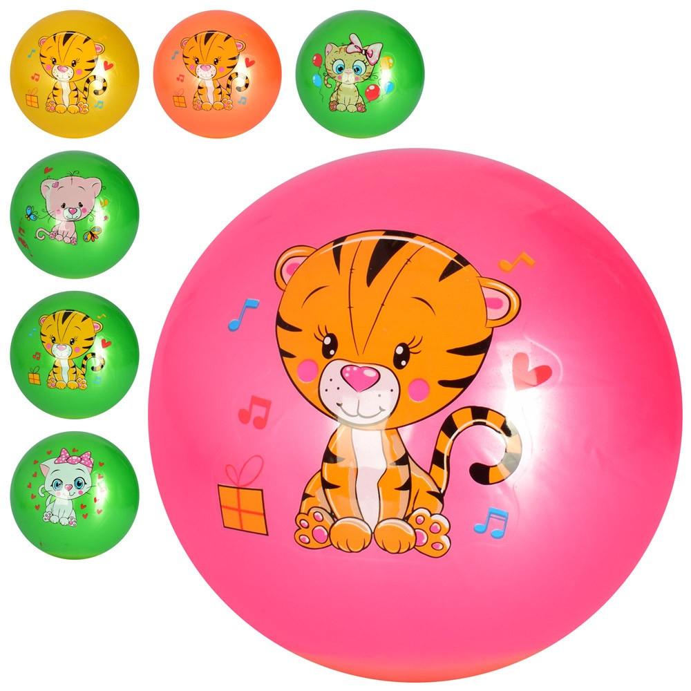 """М`яч гумовий 9"""" тварини,ПВХ,4види,4кольори,67-73гр №MS2602-1 (240)"""