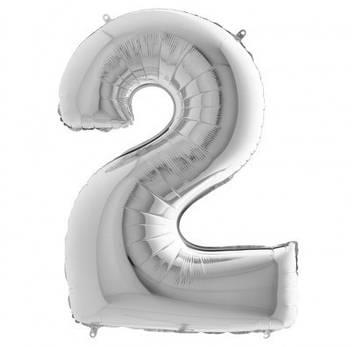 """Кулька повітр. """"Цифра-2"""" 15 см срібло фольга(20)"""