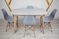 Комплект кухонной мебели Wood Light Винцензо 120 серый прямоугольный стол + 4 стула