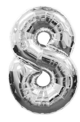 """Кулька повітр. фольгована """"Цифра-8"""" 15см срібло(20)"""