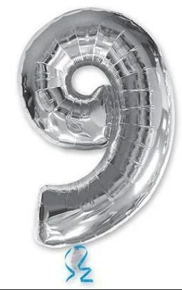 """Кулька повітр. фольгована """"Цифра-9"""" 35см срібло(20)"""