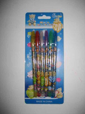 """Ручки гелевые, набор в блистере 6 цветов """"Мишки"""" блестящие Josef Otten"""