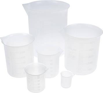 Набір мірних стаканів пласт. (6шт) 10мл,50мл,100мл,250мл,500мл,1000мл. №000605/100110