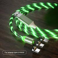 Магнитный светящийся кабель Greenport с LED подсветкой для зарядки 3в1 для Iphone, microUSB, Type-C Green