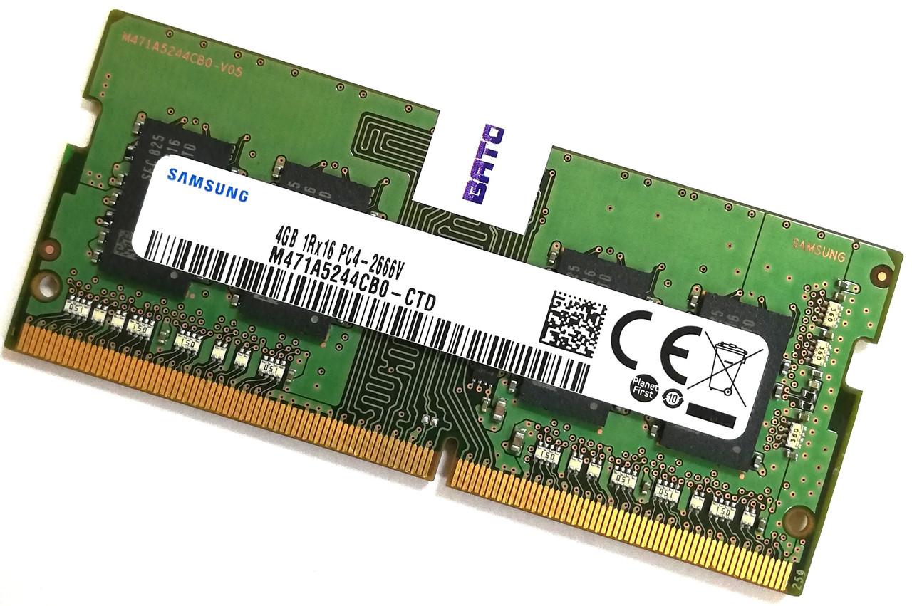 Оперативная память для ноутбука Samsung SODIMM DDR4 4Gb 2666MHz 21300S 1R16 CL19 (M471A5244CB0-CTD) Б/У