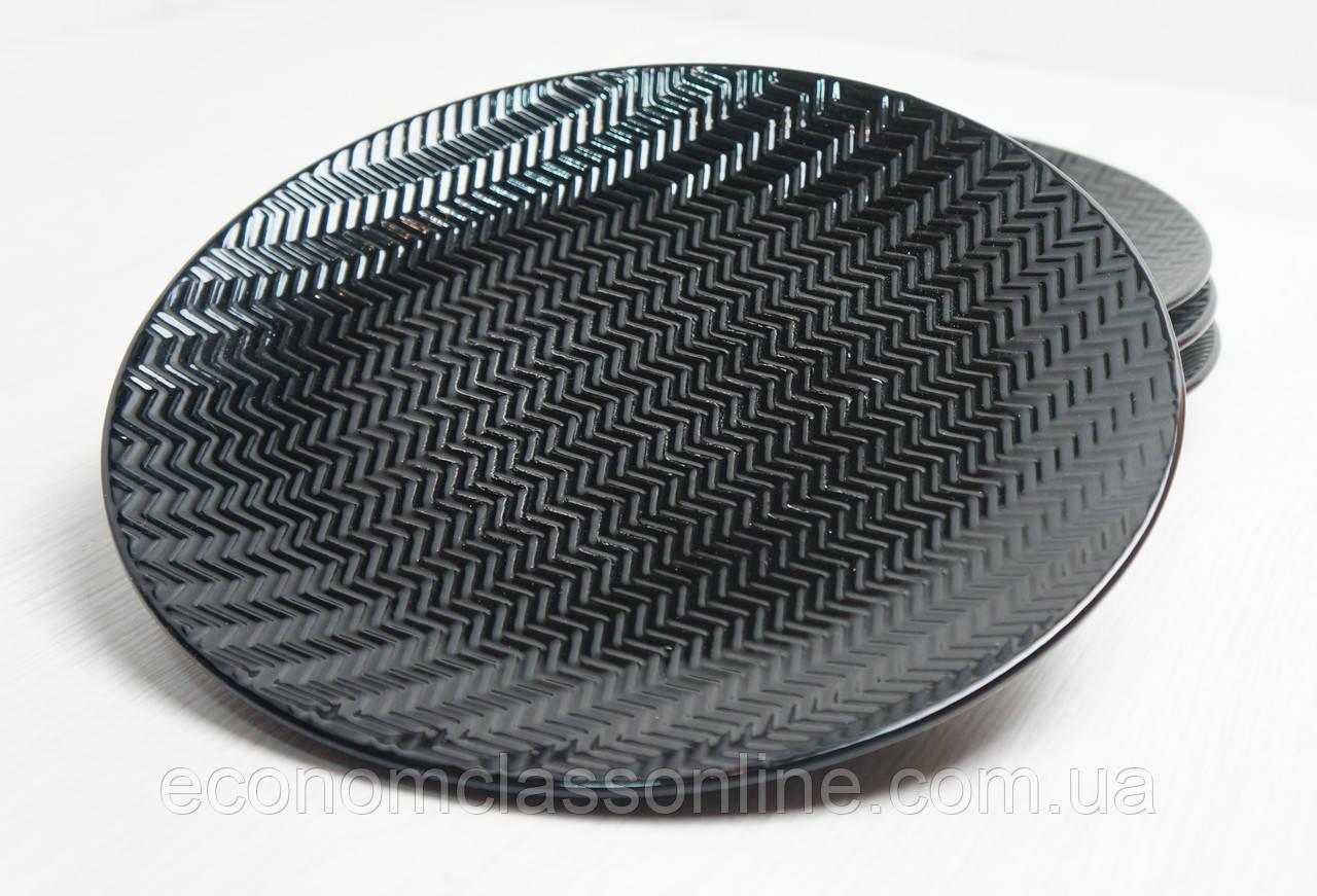 Тарелка керамическая черная - фото 1