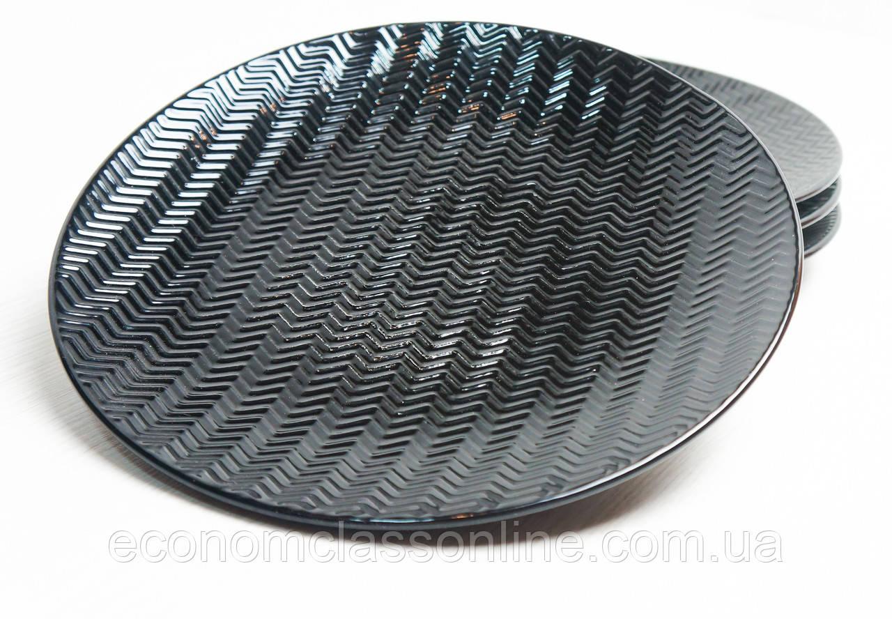 Тарелка керамическая черная - фото 2