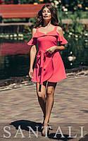 Короткое летнее платье с открытыми плечами и воланами 45PL1376, фото 1