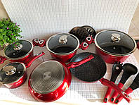 Набор посуды Edenberg с антипригарным мраморным покрытием 15 предметов