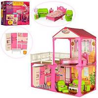 Домик   2этажа,81-82-40,5см,3комнаты,мебель,для куклы29см,в кор-ке,60-42-18см