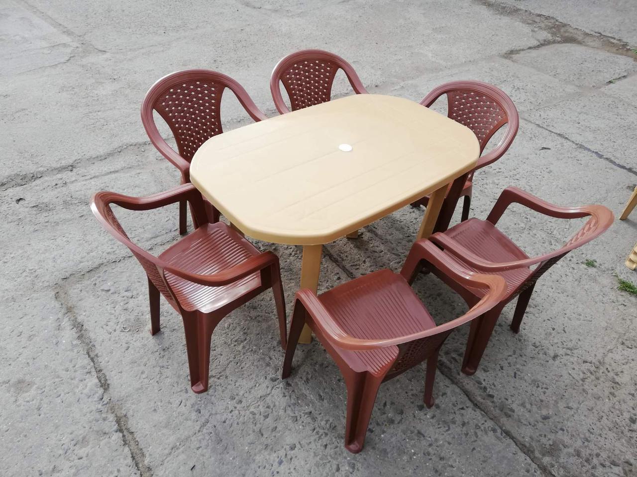 """Комплект садовой мебели """"Карамель""""! Стол большой + 6 кресел!"""