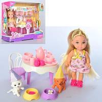 Кукла   12см, животные, мебель, посуда, 32предм, в кор-ке, 19-16-7см
