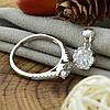 Серебряный набор ТС9510168н кольцо размер 18 + кулон 15х9 мм для цепочки шириной до 2 мм вставка белые фианиты, фото 3