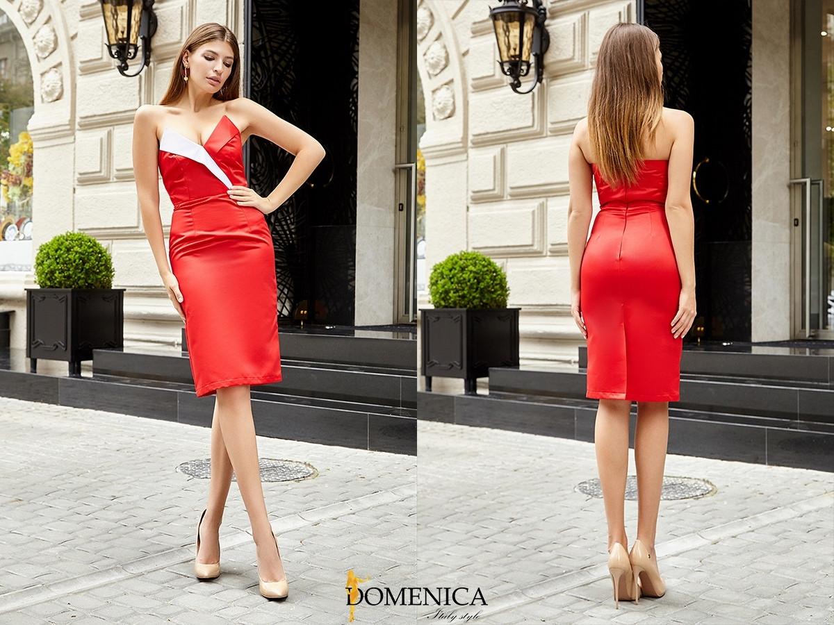 Атласное платье по фигуре с открытыми плечами и фигурным вырезом 31py1385