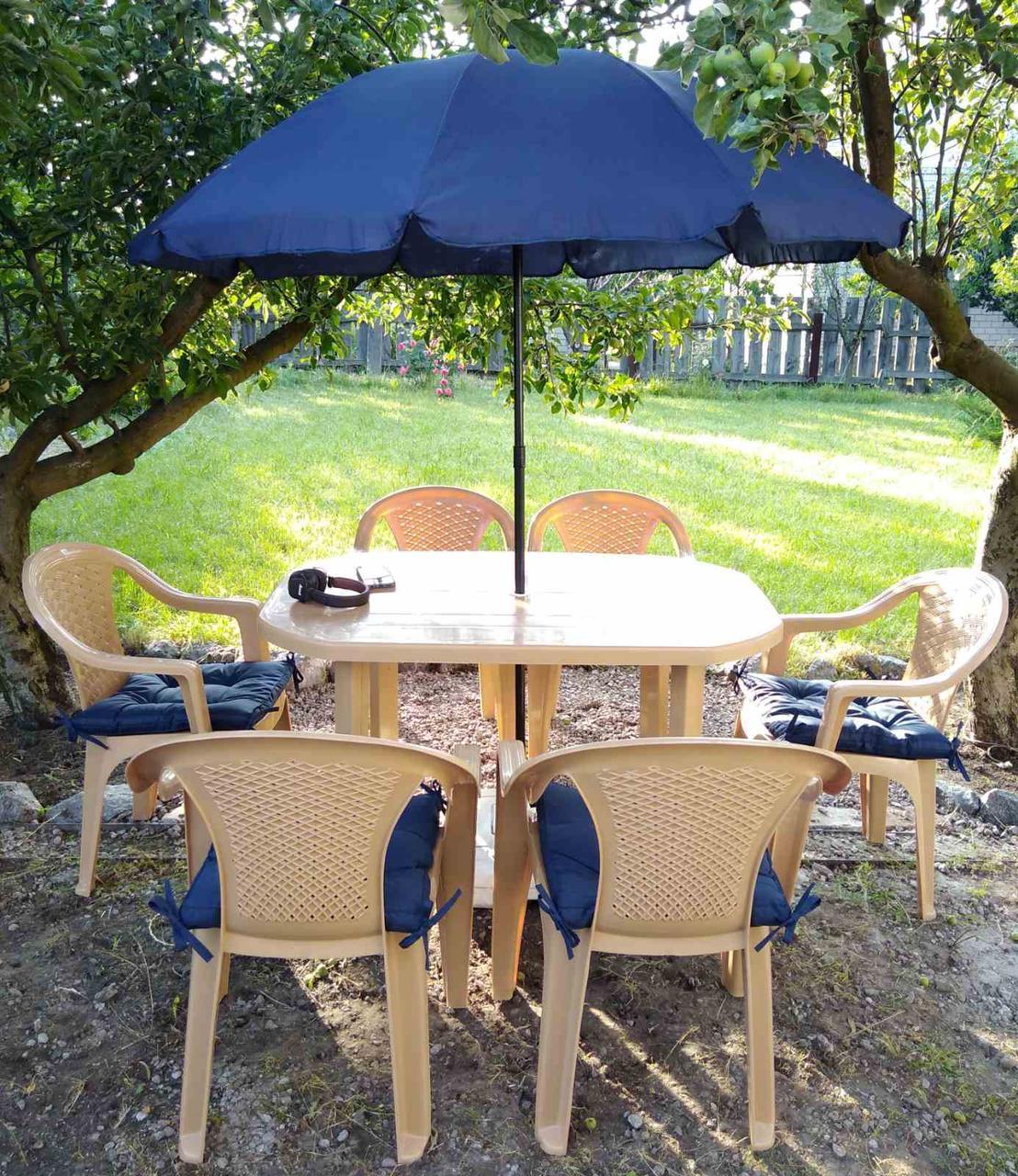 Бежевый комплект садовой мебели ЛЮКС! Стол большой + 6 кресел!
