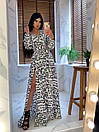 Длинное принтованное платье рубашка в пол с длинным рукавом 66py1394Е, фото 3