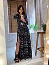 Длинное принтованное платье рубашка в пол с длинным рукавом 66py1394Е, фото 4