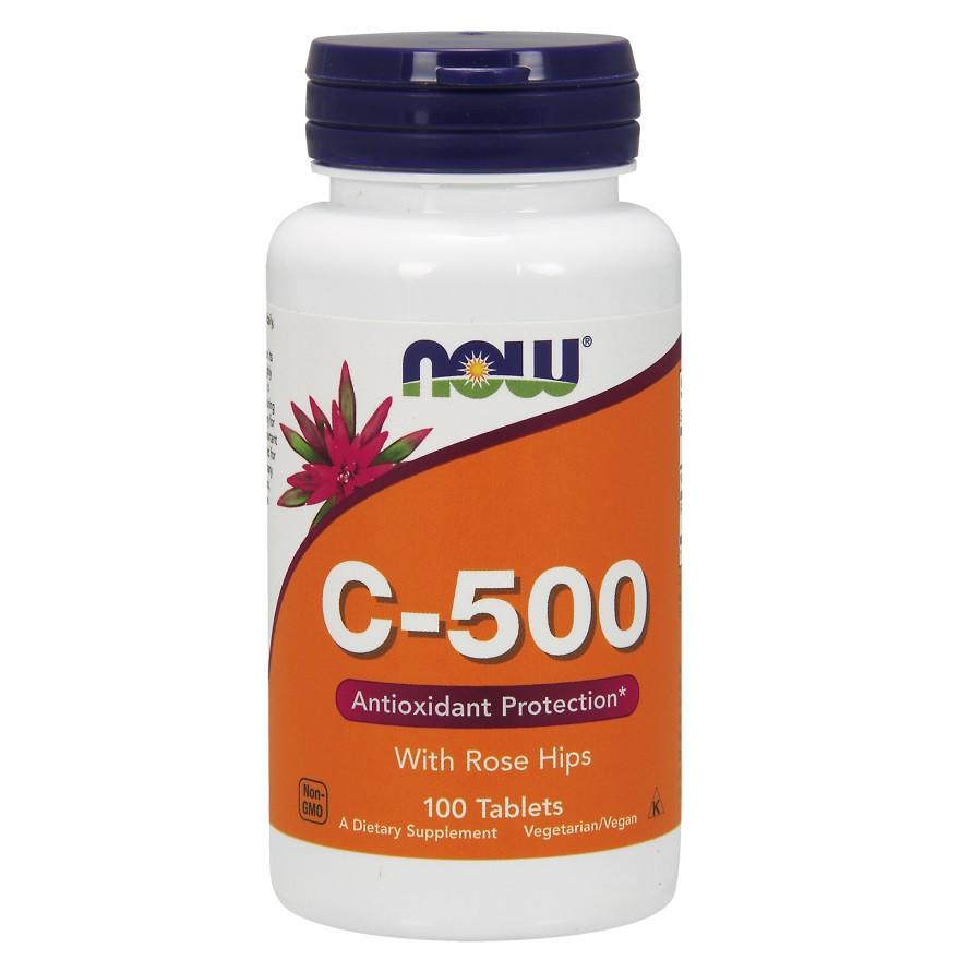 Витамин С NOW Foods, C-500 With Rose Hips, 100 таблеток