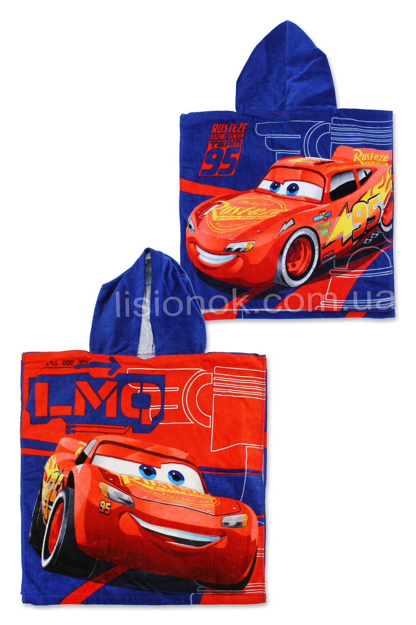 Рушник пончо з капюшоном Тачки (Блискавка Макквін), 100% бавовна Cars
