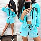 Бархатный костюм шорты и свободная мастерка на молнии 9ks903, фото 4