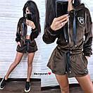 Бархатный костюм шорты и свободная мастерка на молнии 9ks903, фото 8