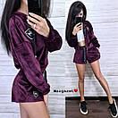 Бархатный костюм шорты и свободная мастерка на молнии 9ks903, фото 9