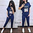 Женский повседневный брючный костюм с футболкой и нашивкой 9ks906, фото 6