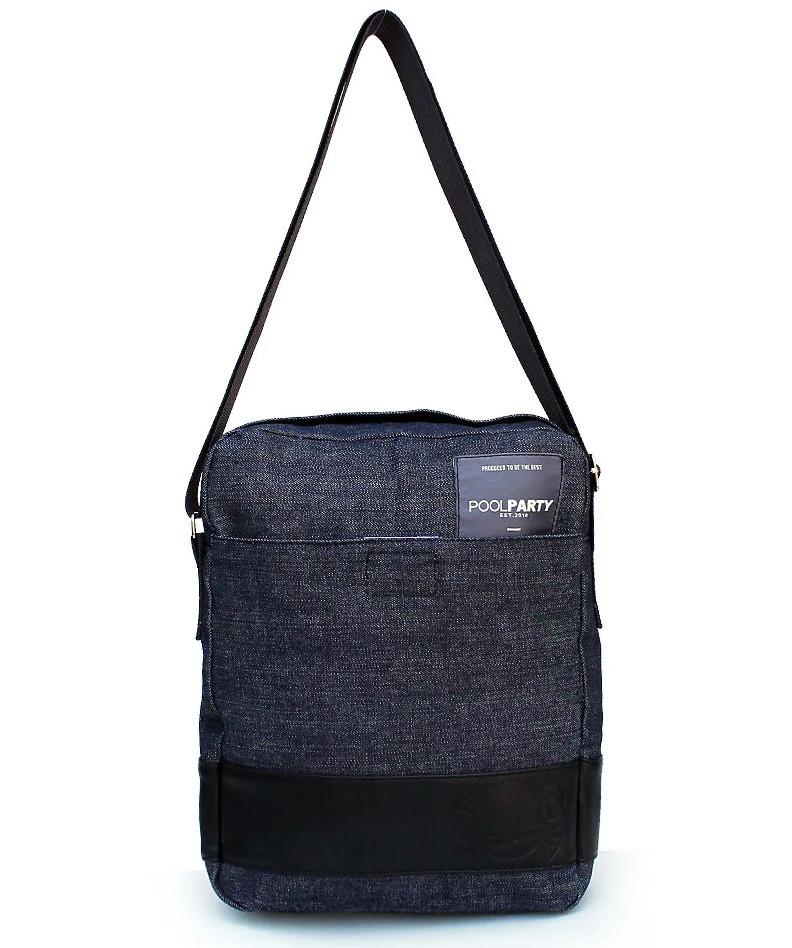Мужская джинсовая сумка-мессенджер POOLPARTY с ремнем MESSENGER DENIM BAG
