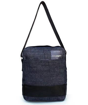 Мужская джинсовая сумка-мессенджер POOLPARTY с ремнем MESSENGER DENIM BAG, фото 2