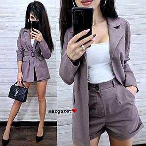 Женский летний льняной костюм с шортами и удлиненным пиджаком с поясом 9ks927