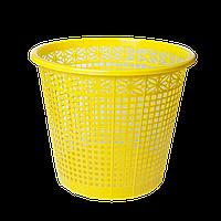 Корзина для бумаг ZiBi пластиковая с прорезями 8 л жёлтая
