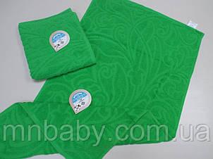 Полотенце махровое жаккард 50*90 см зеленое