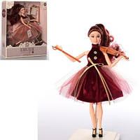 Кукла M 4377 UA  шарнирная, 29см, скрипка, аксессуары, 3вида, в кор-ке, 30-32,5-6,5см