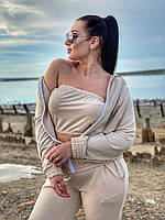 Женский модный спортивный костюм,кофта с длинным рукавом и капюшоном,штаны на манжете+топ (двухнитка)