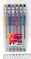 Набір гелевих ручок в пластиковій упаковці 6 кольорів з блискітками JO M-1036