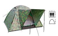 Палатка универсальная 3-х местная с тентом (р-р 2х2х1,35м, PL, камуфляж) SY-034