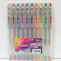 Набір гелевих ручок в пластиковій упаковці 10 кольорів з блискітками JO M-1036-10