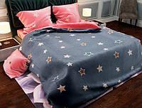 Двуспальный набор постельного белья Черешенка Gold №154131AB 180х220 Бязь Серо-розовый (BC2G154131AB)