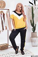 Костюм летний легкий футболка и брюки двойка повседневный для женщин, желтый