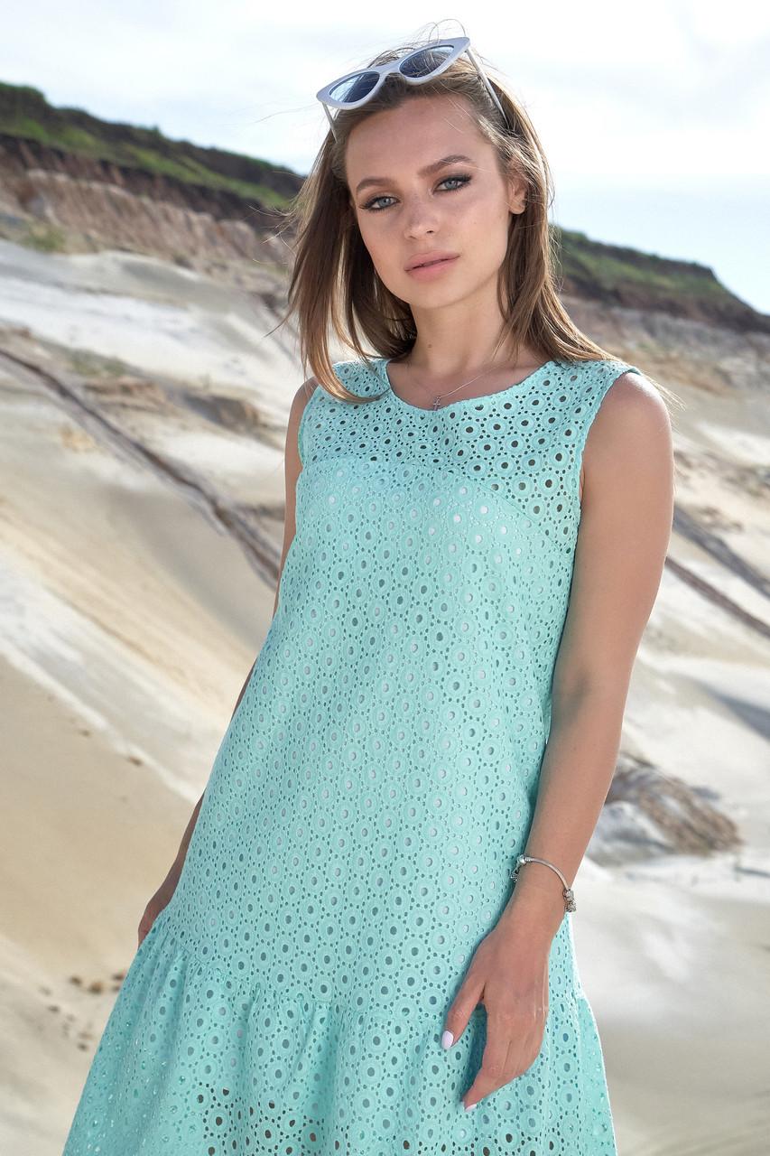 Женское летнее свободное бирюзовое платье