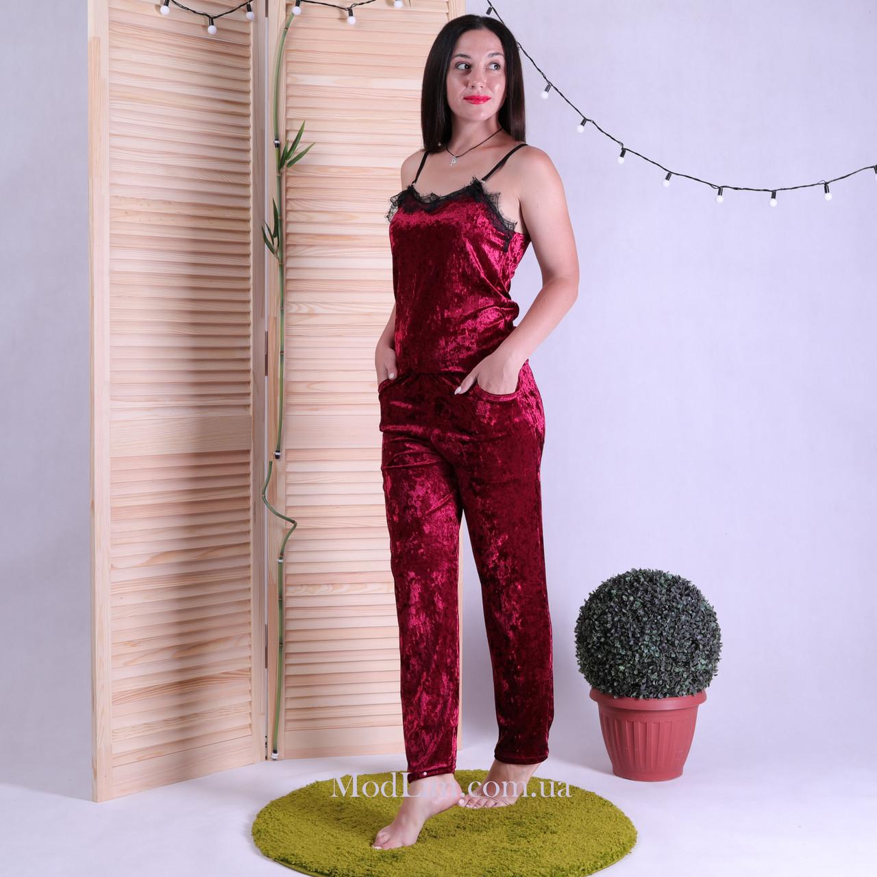 """Піжама топ зі штанами з мармурового оксамит-велюру """"Red"""" 42-50"""