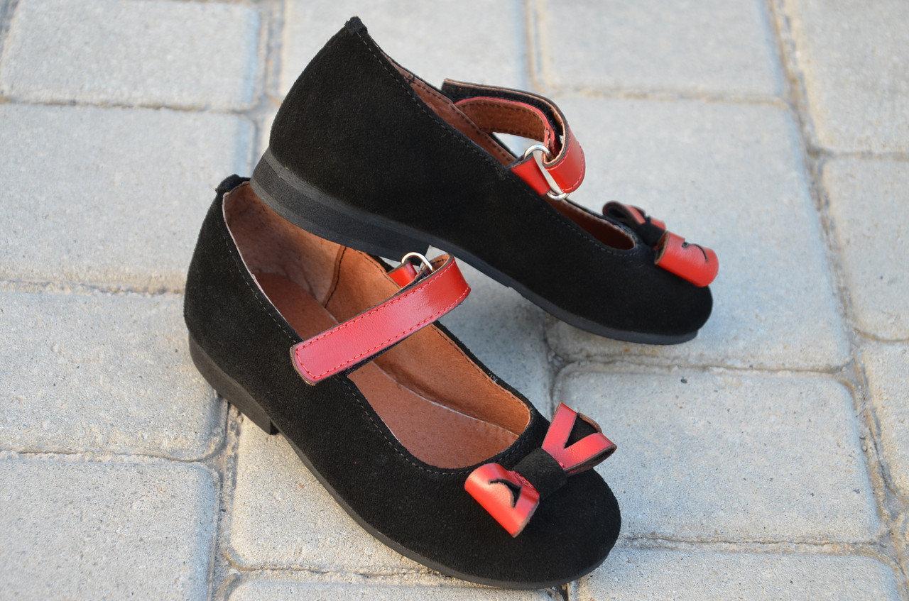 Туфли на девочку замшевые с ремешком черные 332107